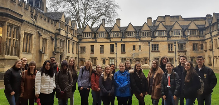 Group of young people in quad at Brasenose College