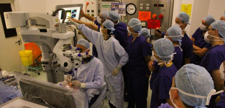 Group of ophthalmologists in surgery