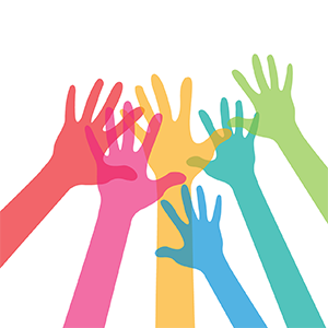 Illustration of coloured hands reaching up