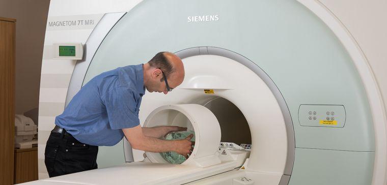 Stuart Clare testing the MRI scanner