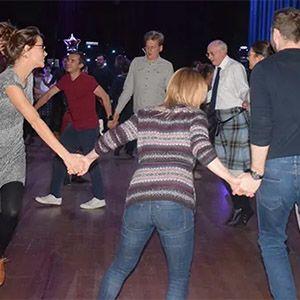 Group dancing a ceilidh