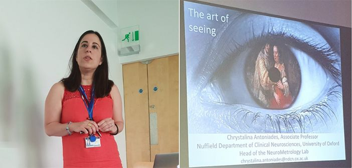 Chrystalina Antoniades presenting her work