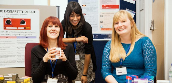 Left to right - Dr Nicola Lindson-Hawley, Dr Rachna Begh, and Jamie Hartmann-Boyce at a recent departmental open day.