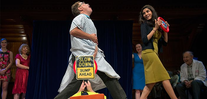 Prof Anthony Harnden (patient), Dr Helen Ashdown (speed bump) and Dr Dalliah Karim (driver) demonstrating the speed bump test at the 25th First Annual Ig Nobel Awards.