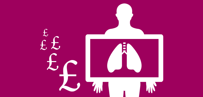 Is catching cancer early worth the extra cost? (Image of pound signs and an person having their lungs x-rayed).