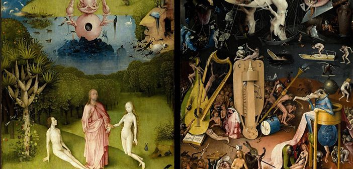 """Aristotle's conception of virtues as personal """"excellences"""" and vices as personal """"defects"""" might help explain how, why and to what extent clinical practice is evidence-based. (Image is sections of Hieronymus Bosch's painting """"The Garden of Earthly Delights"""")"""