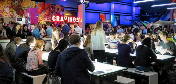 Lab members running a brain-themed cocktail bar at the Science Museum's Lates event