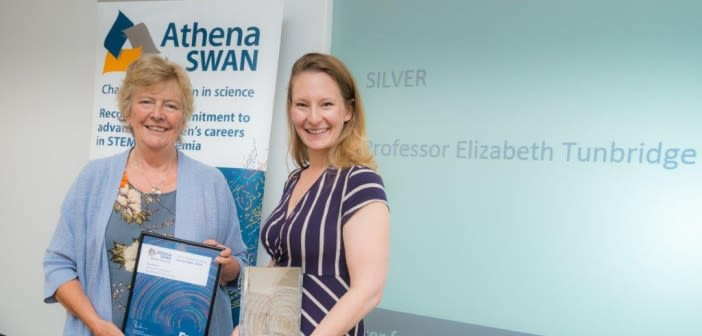 Prof tunbridge receives the athena swan silver award from prof dame julia higgins the original chair of the athena project
