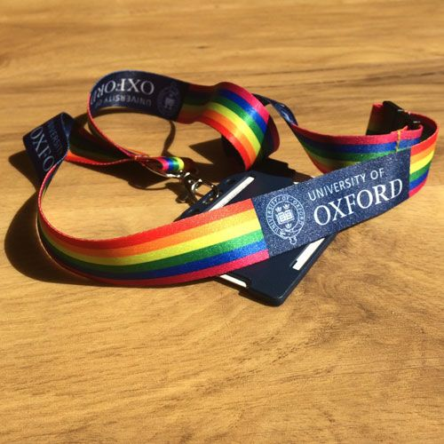 Rainbow coloured lanyard with the Uni of Oxford logo and ID card holder