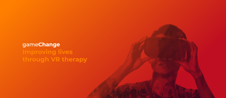 """Image shows a person wearing a VR headset with the caption over the image """"gameChange, improving lives through VR therapy""""."""