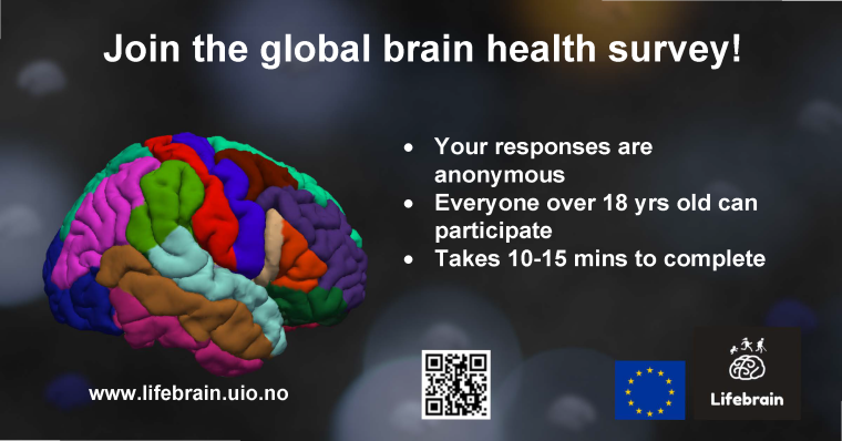 Image shows a picture of the human brain with the caption 'join the global brain health survey!'