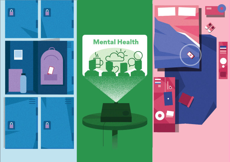 Image incorporates three images, including: school locker, a projector saying 'mental health' and an aerial cartoon of someones bedroom.