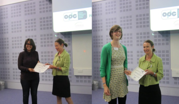 Nahid Zokaei receiving the prize for the best poster, Rosalind Roberts receiving second prize