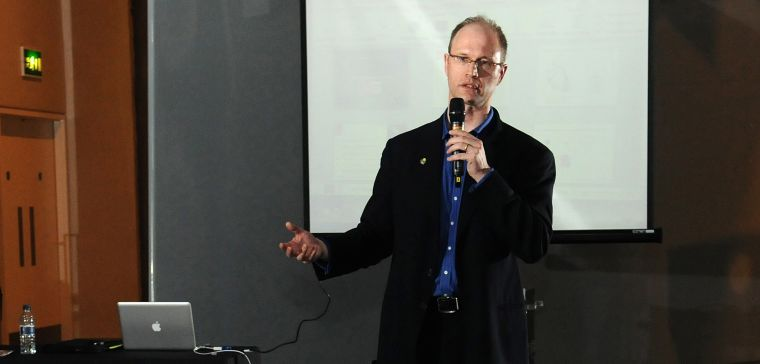Paul Riley speaking on behalf of the BHF at the Science Museum Lates event in London in 2013