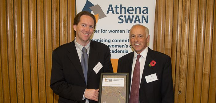 John Deller & Damian Tyler receiving the Athena SWAN Bronze Award on behalf of the Department, November 2013