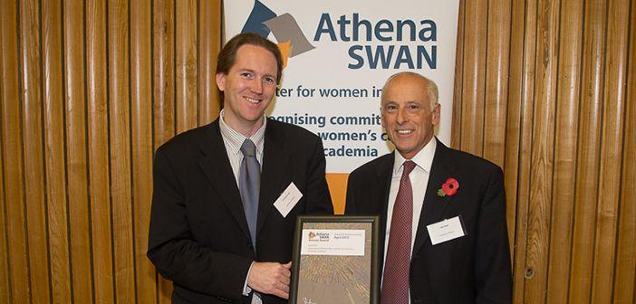 John Deller & Damian Tyler receiving the Athena SWAN Bronze Award on behalf of the Department, November 2013