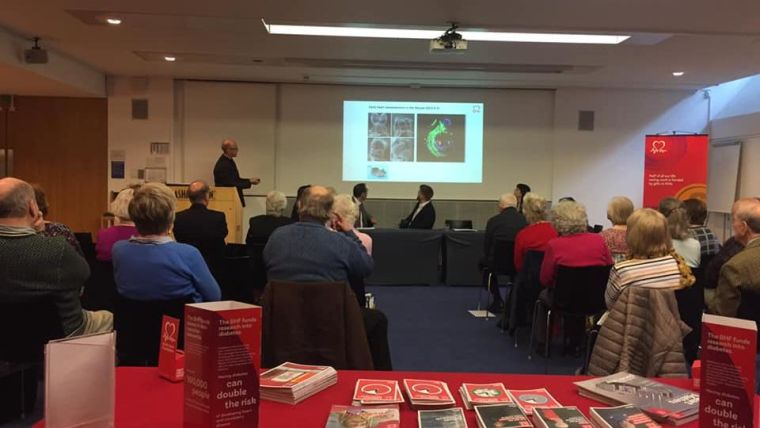 Paul riley presents his research to bhf supporters in a first of its kind pledger research event