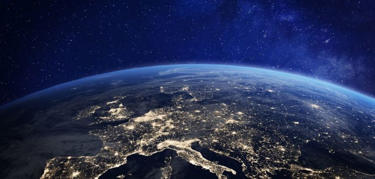 A view of Europe from a satellite above the Earth