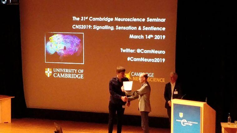 Lukas krone wins the cambridge neuroscience seminar poster prize