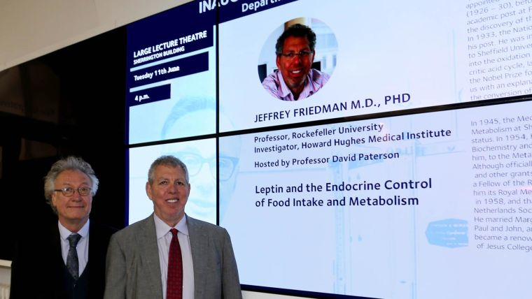 Jeffrey friedman frs delivers inaugural sir hans krebs lecture