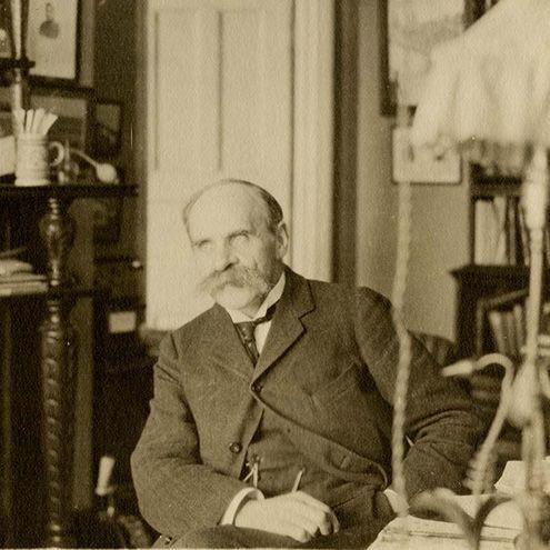 Sepia photograph of John Scott Haldane at his home.