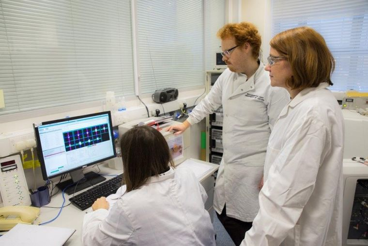 Vicky Ball, postdoc researcher and research assistant viewing scan data on the computer