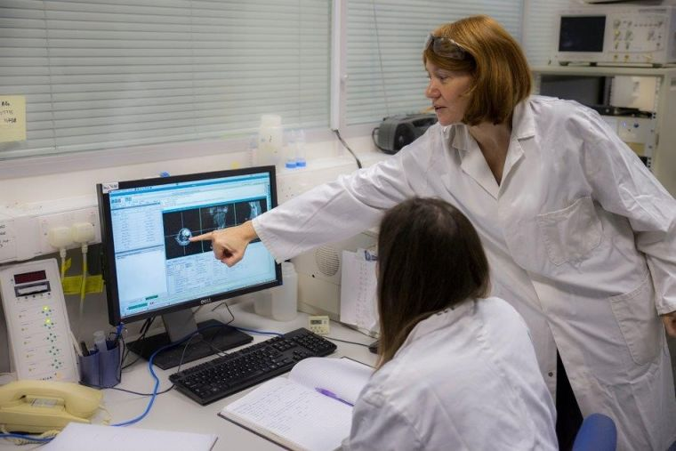 Lab Manager Vicky Ball points out an interesting MRI scan on the computer