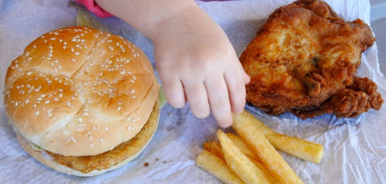 Pudgy child's arm reaching for burger and chips.