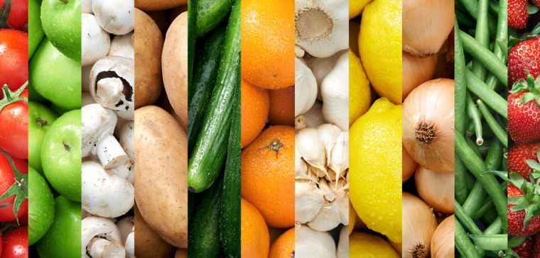 Montage of photos of fruit and vegetables