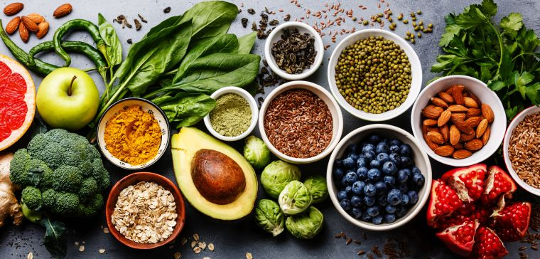 Vegetables, fruit, pulses and nuts.