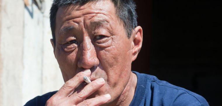 Chinese man smoking