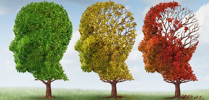 Illustration of 3 trees losing their leaves to represent the progressive nature of dementia.