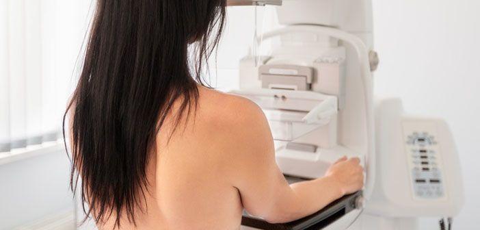 Woman undergoing a mammogram.