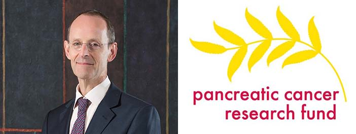 Professor Peter Friend and the Pancreatic Cancer Research Fund logo.
