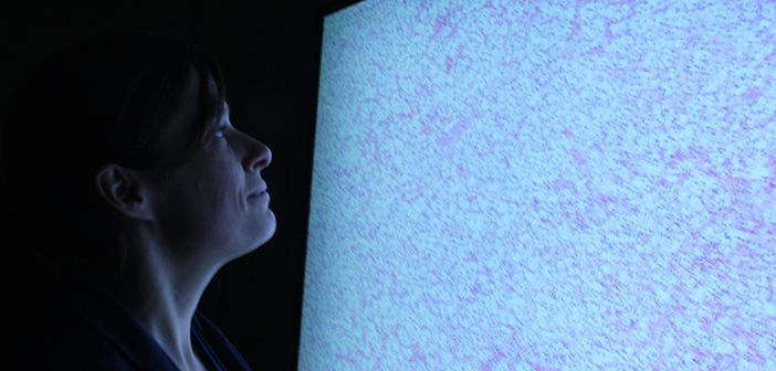 Dr Clare Verrill taught the first session to histopathology registrars using the new giant touchscreen