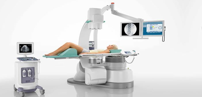 Fixed site lithotripter (Storz SLX-F2) which is permanently on site to treat stones