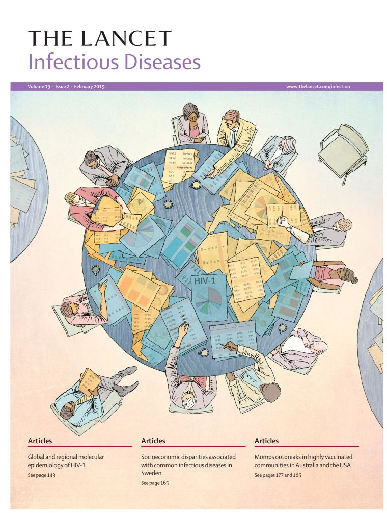 "Dr Joris Hemelaar's paper on global molecular epidemiology of HIV-1 is depicted on the front cover of the February issue of Lancet Infectious Diseases. The paper: ""Global and regional molecular epidemiology of HIV-1, 1990–2015: a systematic review, global survey, and trend analysis"" shows the extraordinary global genetic diversity of HIV and highlights just how big the challenge is to develop a vaccine to combat the global spread of HIV. The study analysed 383,519 samples from 116 countries spanning the period 1990-2015."