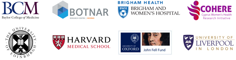 Collection of logos for EndoCaRe academic partners, including Harvard University, the University of Edinburgh, and Baylor College of Medicine.