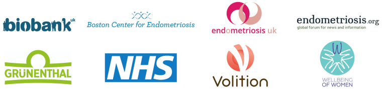 Collection of logos for EndoCaRe industry partners, including the NHS, Volition, Boston Centre for Endometriosis and Endometriosis UK.