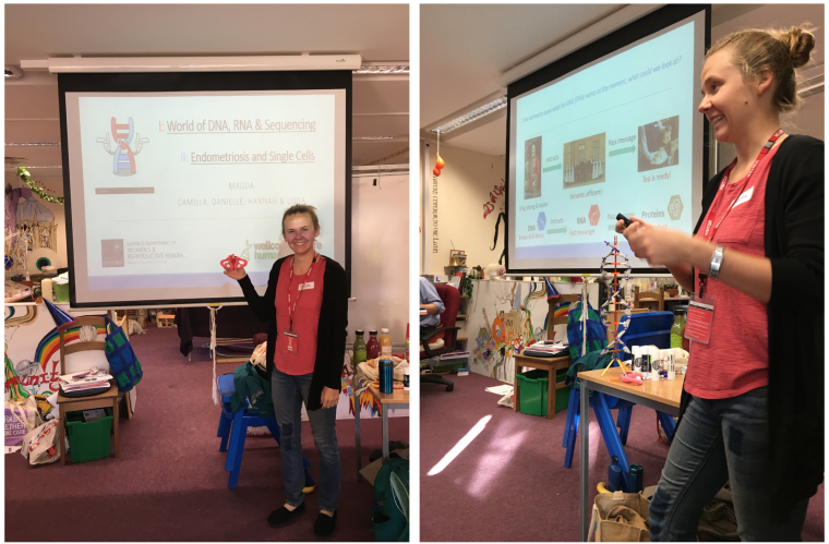 Photo of Magda Marečková teaching pupils at Cheney School about endometriosis and single cells.