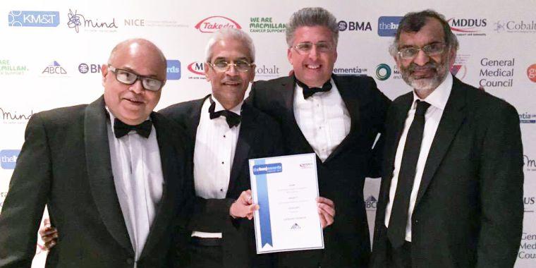 From left to right:  Professor Wasim Hanif, Dr Mahendra Patel, Dr Kamran Abbasi, Dr Paramjit Gill