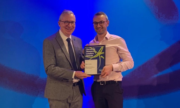 Congratulations to Dr Nathan Davies who received a Dementia Research Leaders Award for his outstanding contribution to dementia research from the Alzheimer's Society this month. The award is in recognition of his contribution to research since starting his PhD in 2011 and post-doctoral work since 2014, as well as the impact it has had on those affected by, and living with, dementia.