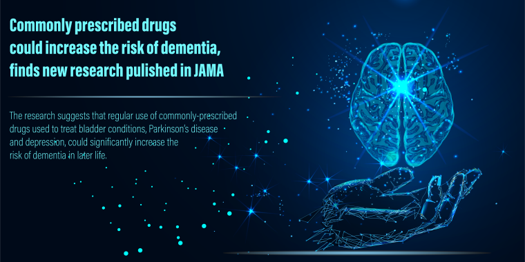 New research funded by the School suggests that regular use of certain types of commonly-prescribed drugs used to treat bladder conditions, Parkinson's disease and depression, could significantly increase the risk of dementia in later life.