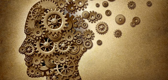 Graphic of head made up of cogs with some missing