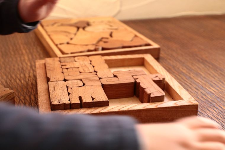 A child plays with a chunky wooden puzzle