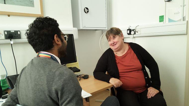 Study volunteer Gillian Brown talks to trial co-ordinator Tony Thayanandan.