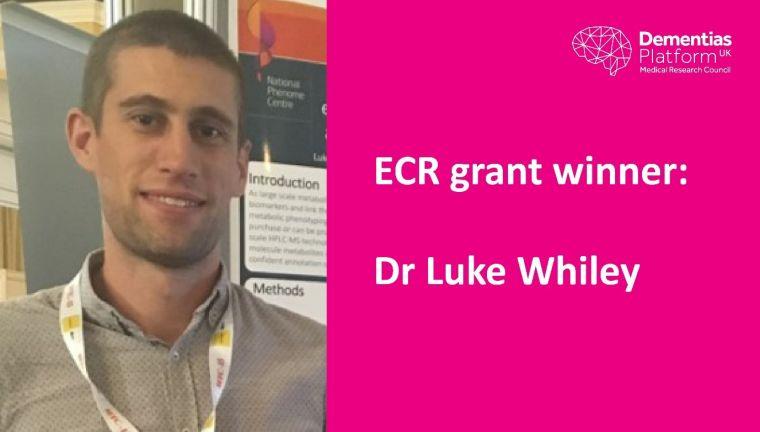 Portrait of Luke Whiley beside text reading 'ECR Grant Winner: Dr Luke Whiley'.