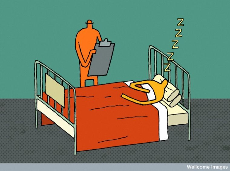 Illustration in cartoon style showing a sleeping patient and a doctor making observations on a clipboard.