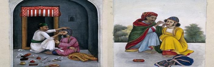 An eye-surgeon and ear cleaner at work; by an unnamed Dehli painter