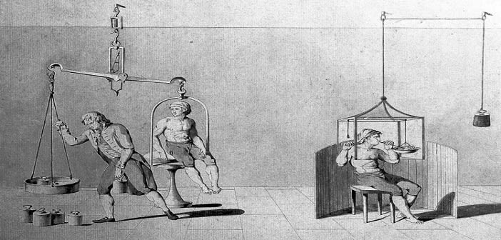 A man being weighed on a huge set of scales, and a man with his head in a glass container; showing Lavoisier's experiments with respiration. Brown pen and wash drawing.